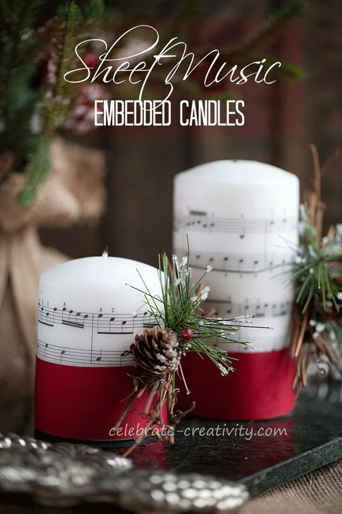 DIY Sheet Music-Embedded candles.  Transfer sheet music image (or image of your choice) to candles for home decor or gifting.