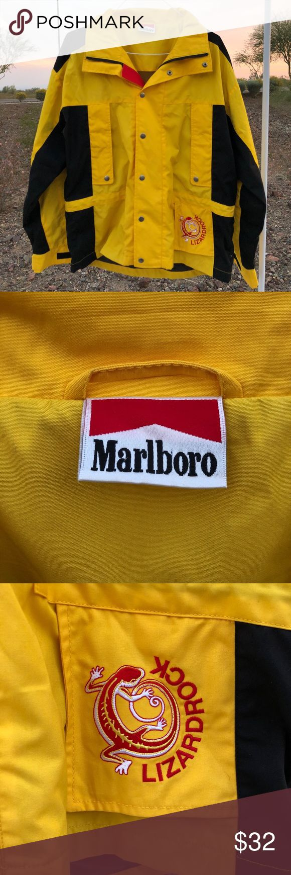 Vintage Marlboro Lizardrock Yellow Jacket Large Vintage Marlboro Lizardrock Yellow Jacket size Large 🚧  Pre Owned 9/10 Condition no stains or holes!  No Returns   Only Shipping to the USA 🇺🇸  Comment for offers or more info about this item 😁  Will bundle! Just message me if you would like more than 1 item!   #Marlboro #Lizardrock #Jacket #Vintage #yellow #rare #black #swag #striped #rain #coat #Large marlboro Jackets & Coats Lightweight & Shirt Jackets