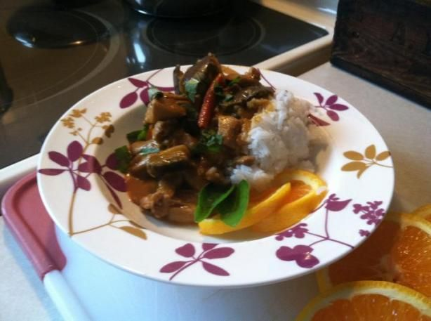Red Curry Chicken and Eggplant (Aubergine) from Food.com:   								This is a fantastic and very quick meal. Serve with rice.