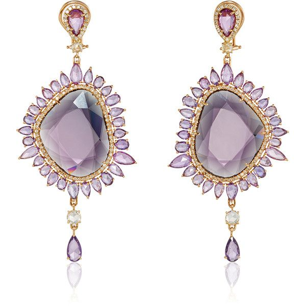 Sutra Purple Sapphire Drop Earrings (80,430 CAD) ❤ liked on Polyvore featuring jewelry, earrings, accessories, sapphire drop earrings, 18k jewelry, drop earrings, purple drop earrings and purple jewelry