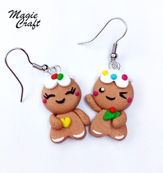 Boucles doreilles dhommes de Noël-pain dépice par MagieCraft
