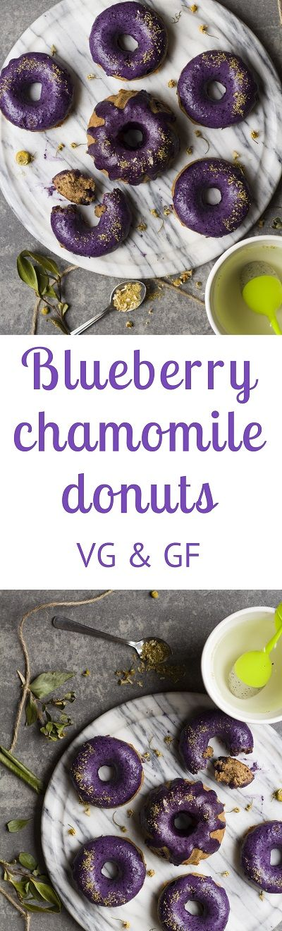 Wholesome chamomile-infused donuts studded with blueberries and topped a blueberry coconut frosting.