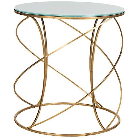 Elderbee White Glass and Gold Accent Table