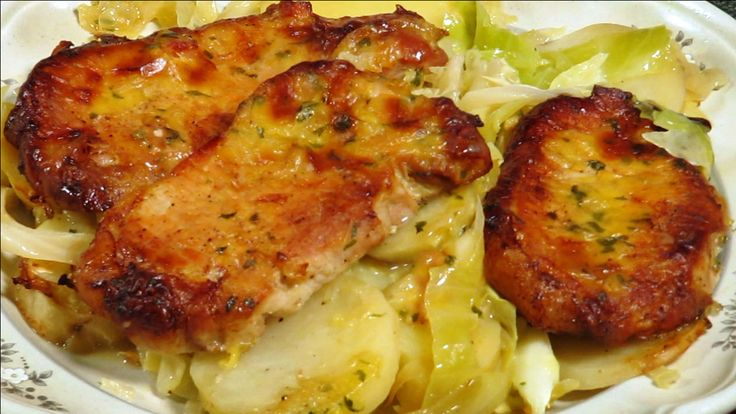 Chops, cabbage, potatoe and onions