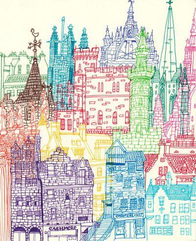 colorful buildingInspiration, Cities, Colors, Illustration, Art Prints, Buildings, Line Drawing, Edinburgh Towers, Architecture Drawing