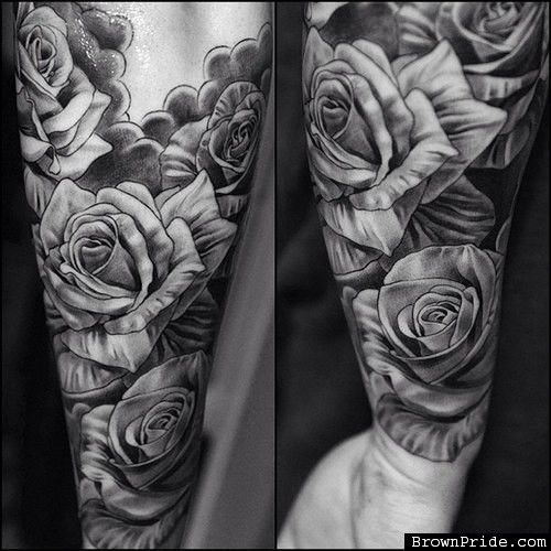 Black and Grey Rose Tattoos. in love with this