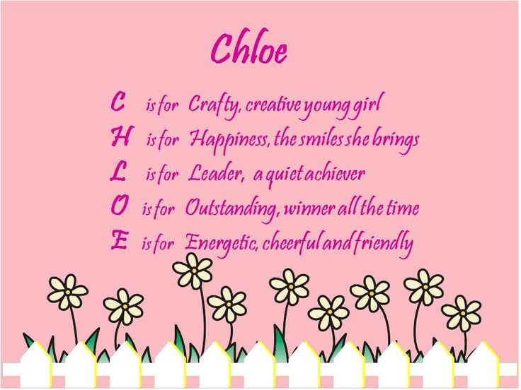 the name chloe | Acrostic Name Poems For Girls: Chloe