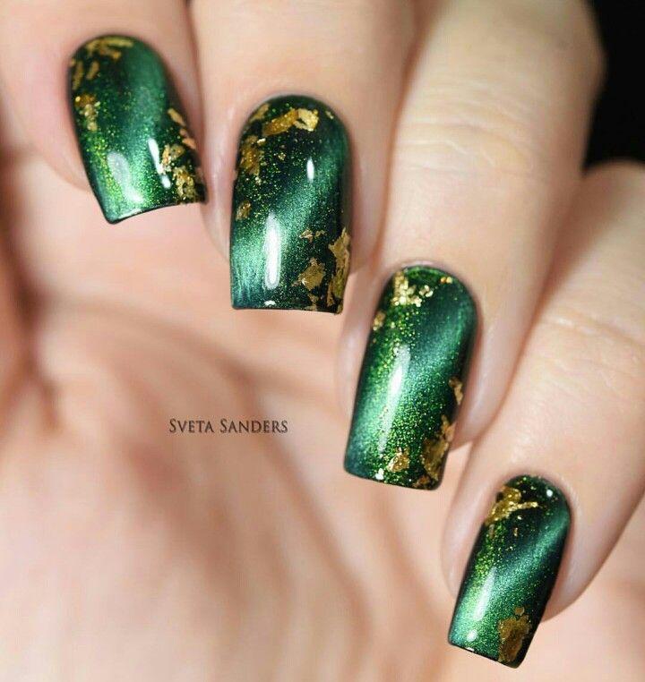 Green Masura magnetic nail polish with gold flake accents