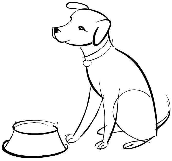Dog Waiting For Food Coloring Page