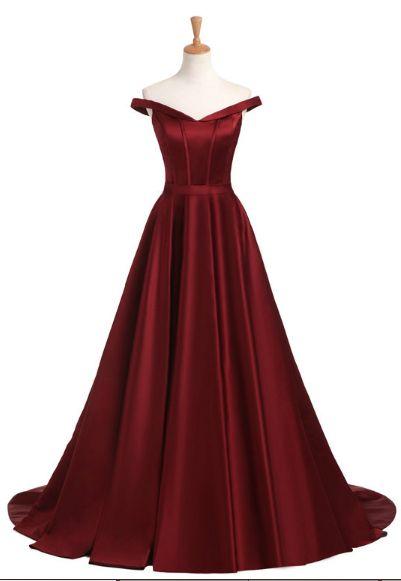 Off Shoulder Burgundy Long Prom Dress, Elegant A