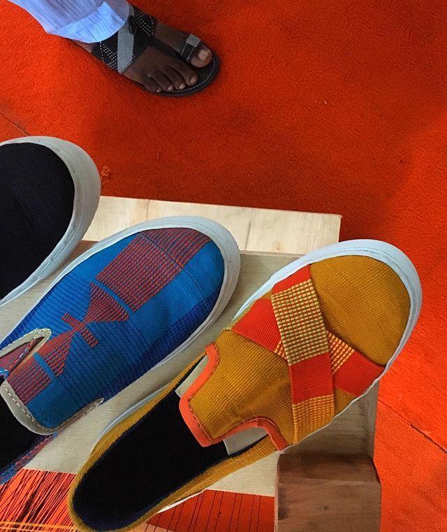 "Sneakers made of the Yoruba ethnic ""Aso Oke"" material by Tunde Owolabi"
