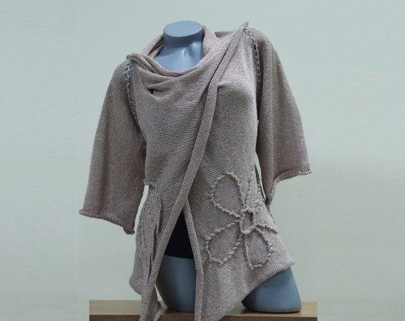 Oversized cardigan sweater, Long cardigan wrap, Beige floral womens cardigan, Open front women sweater, Knit loose cardigan