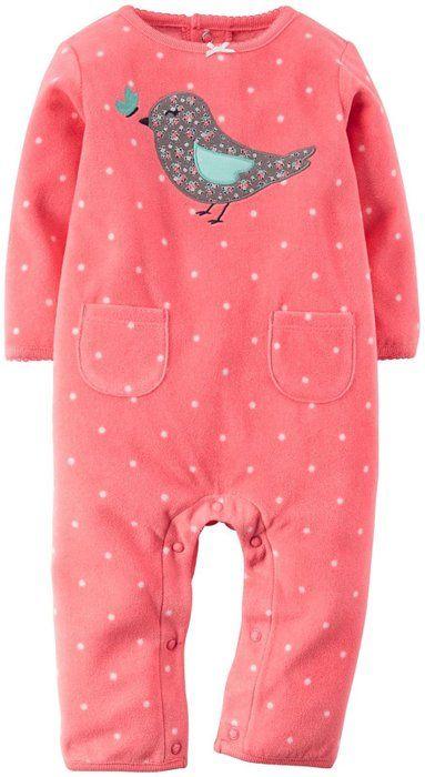 Carter's Baby Girls' Dot Fleece Romper (Baby) - Bird - Newborn