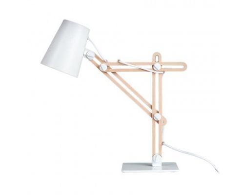 Drewniana elegancka lampka biurkowa, świetnie nadaje się do wnętrz w stylu skandynawskim.