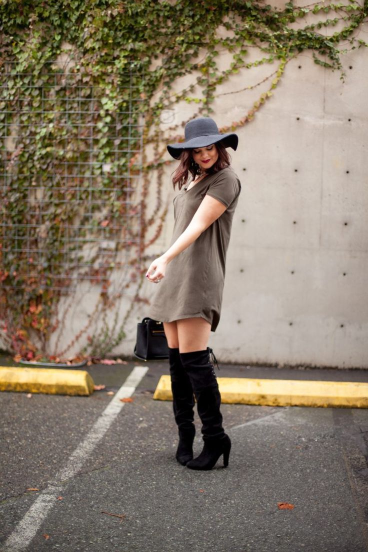 HERboutique.com   Keeping your authenticity as a blogger   TShirt Dress   OTK boots   Fall Fashion