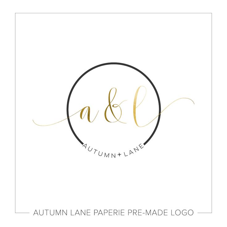 Autumn Lane Paperie Gold Foil Initials Circular Wedding Logo