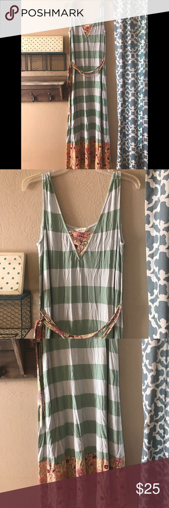 """Matilda Jane Seaside Afternoon Maxi Dress Matilda Jane Happy and Free Seaside Afternoon Maxi Dress Sz Medium - Worn Once- Excellent Condition ~ Super soft striped knit maxi sundress with floral hem and inset at neckline. Wrap around waist ties. Measures 54"""" in length. Chest flat across is 17"""". Matilda Jane Dresses Maxi"""