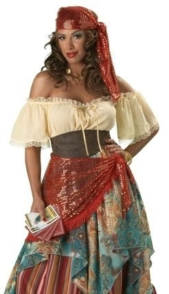 Curvy plus size women now have beautiful Halloween costumes just for them. These are great plus size gypsy costumes for Halloween or for any type...