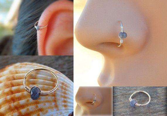Tiny Hoop Nose Ring  Jade Nose Ring  Septum by sofisjewelryshop