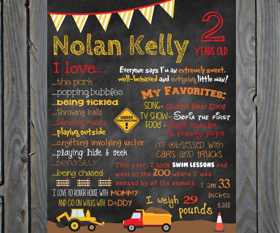 Check out this shop owners very friendly and respond very fast! Custom Construction Truck Theme Birthday by ChalkingItUpBoards, $30.00.......