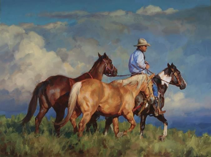 "Jason Rich painting ""Back to the Pasture""."