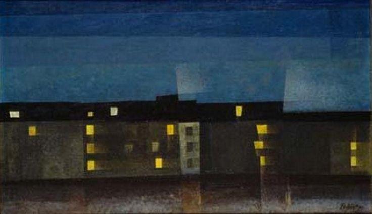 huariqueje:  Lighted Houses Line II  - Lyonel Feininger 1932 American 1871-1956
