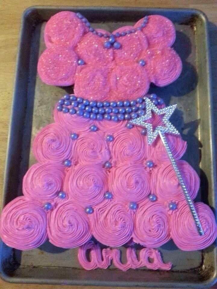 Cup-Cakes pyntet som kjole-til pige fødselsdag