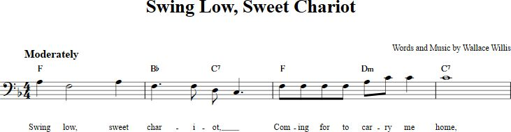 Swing Low, Sweet Chariot sheet music with chords and lyrics for bass clef instruments including bassoon, cello, trombone, and others. View the whole song at http://chordzone.com/music/bass-clef/swing-low-sweet-chariot/