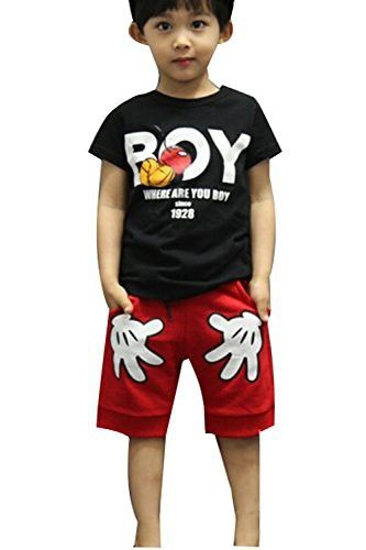 Baby Boys T-shirt Tops Red Pants Outfits Sets Casual 2pcs Summer (2-3 Year, Black)