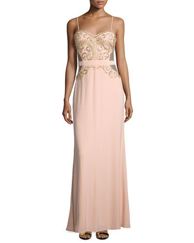 MIGNON SWEETHEART EMBELLISHED GOWN, APRICOT. #mignon #cloth #