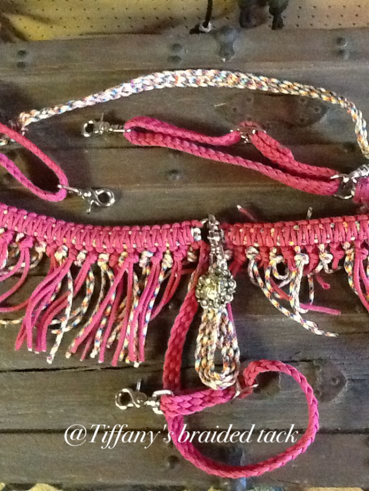 Paracord tassle breastcollar in tie dye and pink also for Paracord horse bridle
