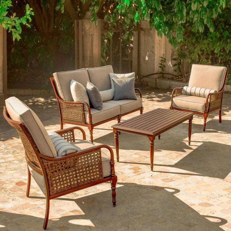 Aluminum patio conversation set with Sunbrella loveseat