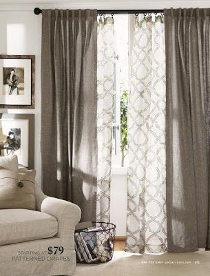 Layered curtains.         Design Fixation: A Modern Take On Curtains For The Living Room