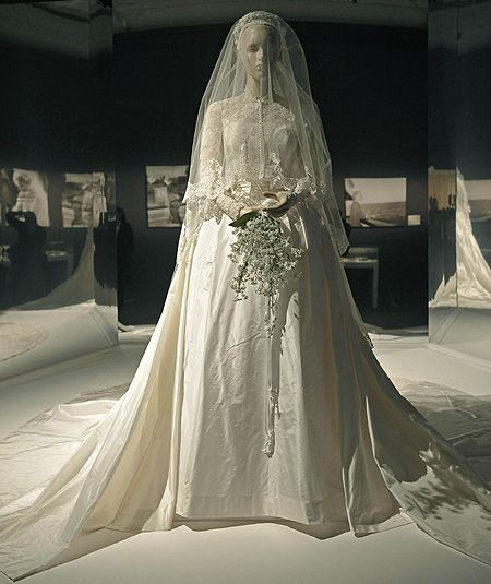 The fairytale wedding dress Princess Grace wore for her 1956 wedding to Prince Rainier is on display