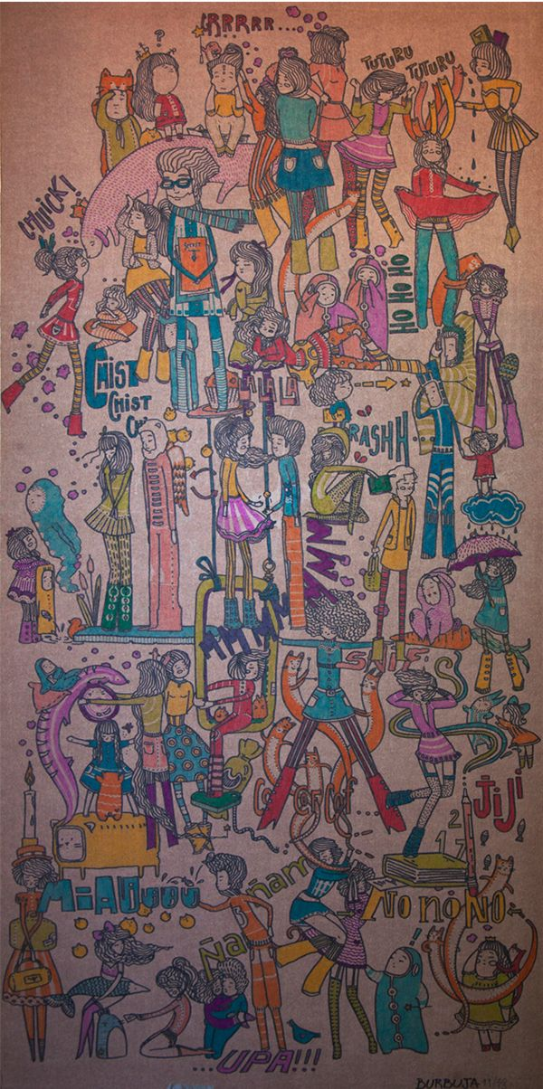 Probando letras y colores sobre cartón, tamaño 100x50 cm. Escuchando The Velvet Underground, Lou Reed, The Stone Roses. La idea surgió en base a una charla en búsqueda de onomatopeyas.