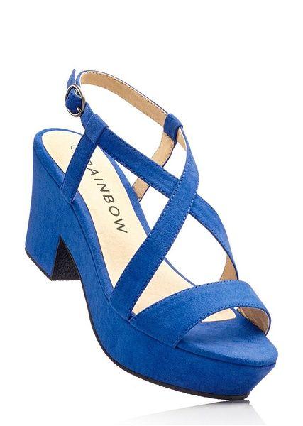 Sandały na koturnie bonprix lazurowy - 914523