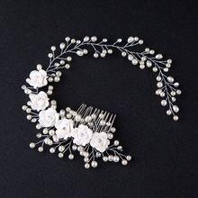 2017 Novos Acessórios de Cabelo Para As Mulheres De Luxo Pérola Flor Hairband Casamento Tiaras de Noiva Comprimento Floral Cabeça Jóia Do Cabelo(China)