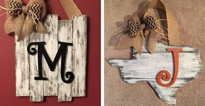 Monogrammed Rustic door decor $33.99