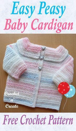 cab23fcfb Easy Peasy Baby Cardigan Free Crochet Pattern