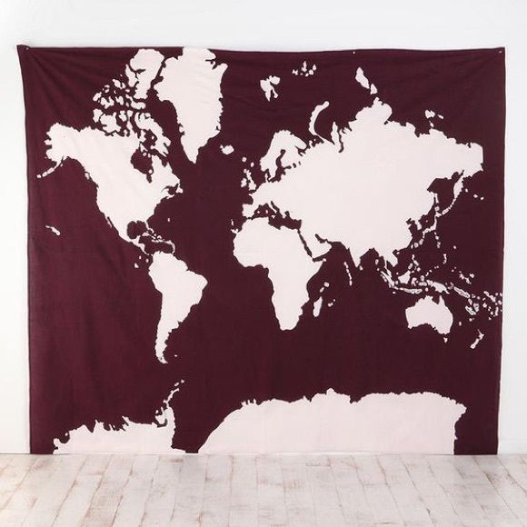 {UO} Burgundy World Map Atlas Tapestry has holes in corners from being hung up with push pins but otherwise in good condition, may be slightly faded Urban Outfitters Other