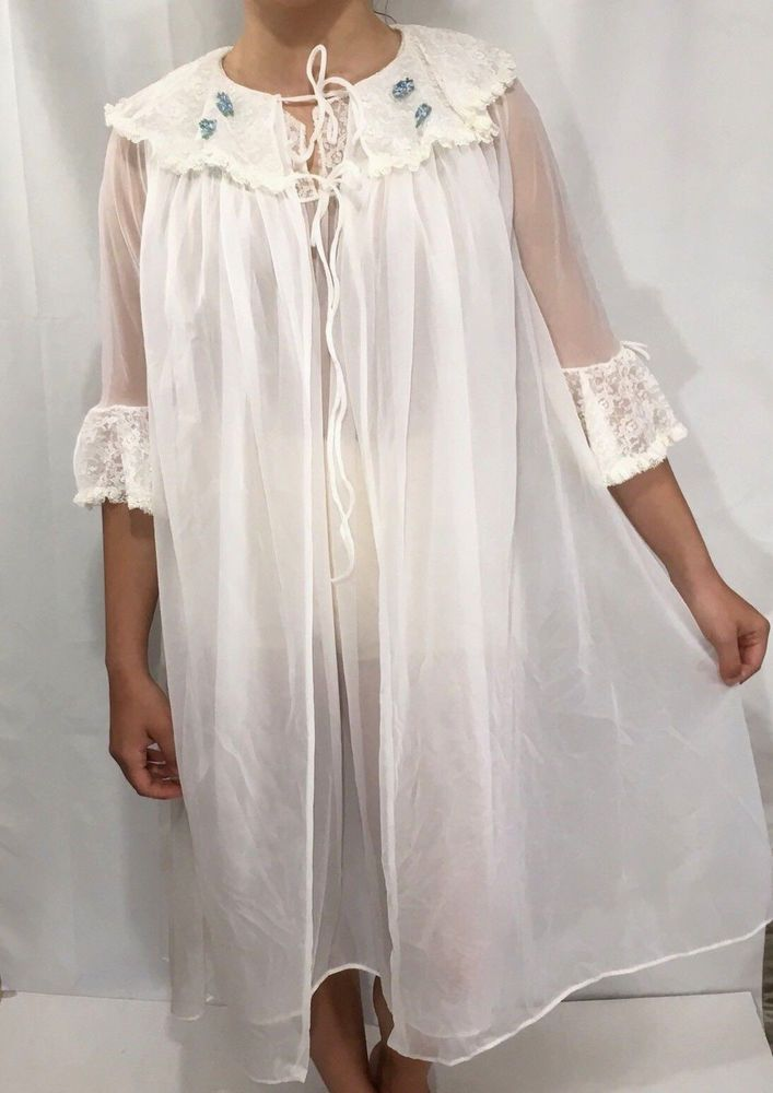 3937cffac57 Vintage 50s 60s White Nightgown Robe Set M Nylon Lace Sheer Negligee  Peignoir  Unbranded