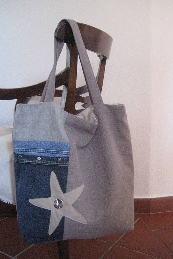 198bec0fb Handmade Tote in two shades of beige sand colours canvas fabric with parts  of recycled jeans