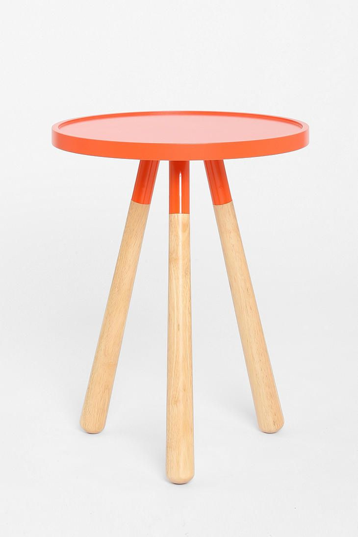 Small color block side table in kids bathroom since we are getting rid of counter space