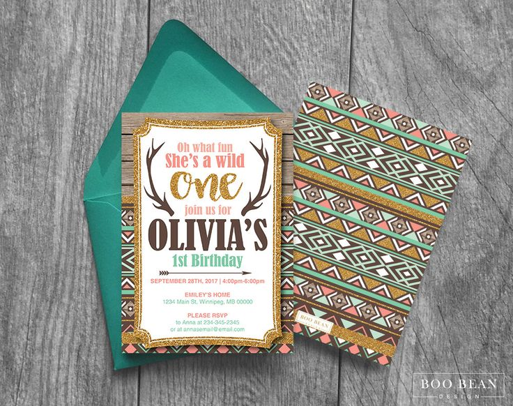 Tribal Wild One First Birthday Invitation | Two Wild Invitation | Antler invitation | Tribal Invitation | Wild one Invitation | by BooBeanDesign on Etsy