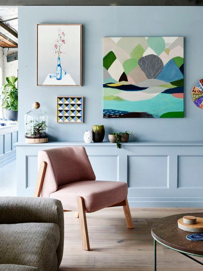 mur bleu pastel