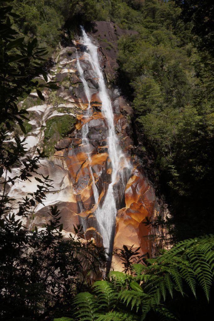 Waterfall in Cochamo Valley, Chile. Valle de Cochamo, trekking in Chile.