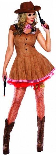 Et voici la tenue de Cow-Girl sexy avec sa robe en imitation cuir / daim qui va faire frémir tous les cowboys de France et de Navarre !