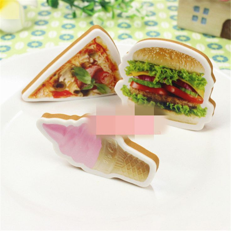 New Cute Kawaii Pizza Hamburger Rubber Eraser Creative Ice Cream Eraser For Kids Student Gift Novelty Item Free Shipping 660