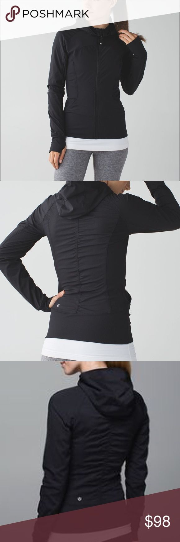 Lululemon In Flux Jacket BLK size 4 Black Lulu In Flux Jacket!! Hooded, super stretchy, thumb holes. Tighter fitting style, perfect as a layering piece and using to and from workouts or as every day wear. lululemon athletica Jackets & Coats