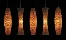 This is a Taniko lights.They are made from thin bamboo plywood.This is the traditional taniko patterns.